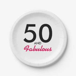 50 and Fabulous Birthday Party Paper Plates Decor