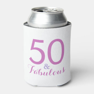 50 and Fabulous Birthday Party Pink Can Cooler