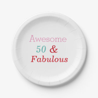 50 and Fabulous Birthday party plates 7 Inch Paper Plate