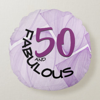 50 and Fabulous Birthday | Purple & Black Round Cushion