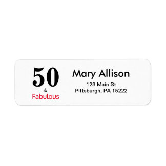 50 and Fabulous Birthday Return Address Label