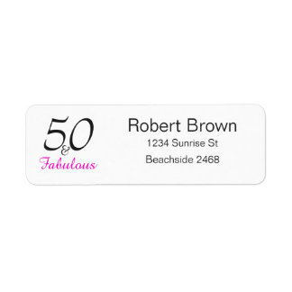 50 and Fabulous Birthday  Return Address Labels
