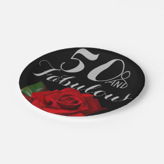 50 and Fabulous Birthday with Red Roses 7 Inch Paper Plate