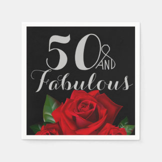 50 and Fabulous Birthday with Red Roses Paper Napkin
