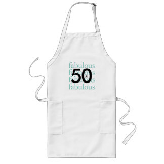 50 and Fabulous Black, White, Teal Apron