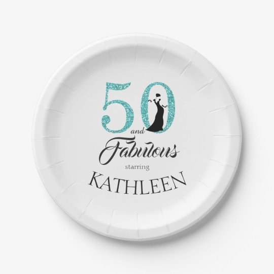 50 and Fabulous Blue Glitter Custom Name Paper Plate