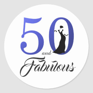 50 and Fabulous Blue | Typography 50th Birthday Classic Round Sticker