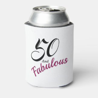 50 and Fabulous Can Cooler. White, black and pink. Can Cooler