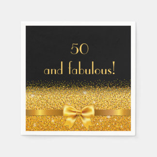 50 and fabulous Chic golden bow with sparkle black Paper Napkin