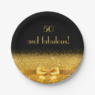 50 and fabulous Chic golden bow with sparkle black Paper Plate