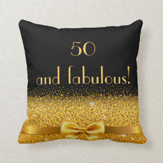 50 and fabulous Chic golden bow with sparkle black Throw Pillow