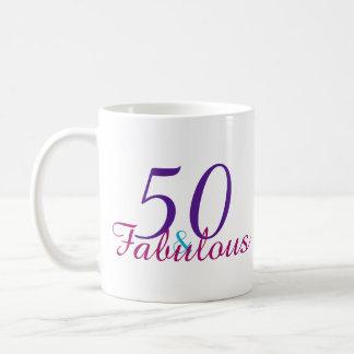 50 and Fabulous Colorful Birthday Gift Coffee Mug