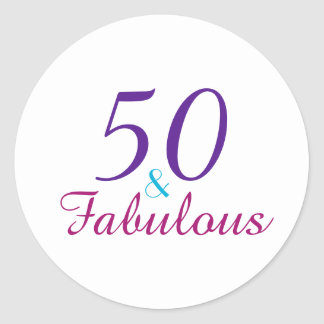 50 and Fabulous Colorful Birthday Typography Classic Round Sticker
