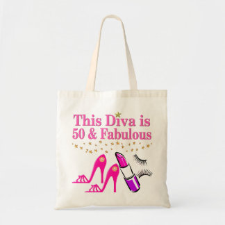 50 AND FABULOUS DIVA TOTE BAG