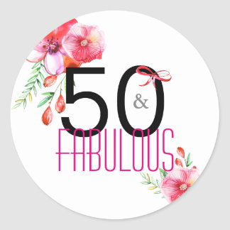 50 and Fabulous Elegant 50th Birthday Party Classic Round Sticker