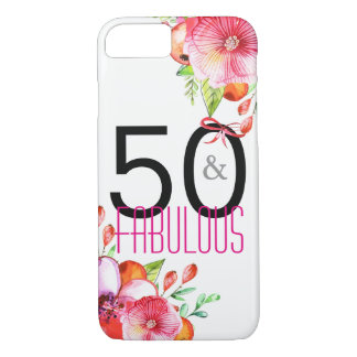 50 and Fabulous Elegant 50th Birthday Party iPhone 8/7 Case