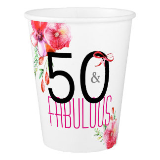 50 and Fabulous Elegant Birthday Party Paper Cup