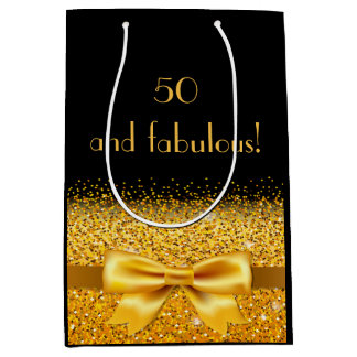 50 and fabulous elegant gold bow and sparkle black medium gift bag