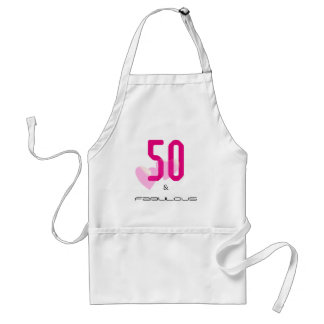 50 and fabulous elegant hot pink birthday apron