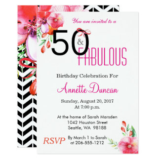 50 and Fabulous Floral 50th Birthday Invitation