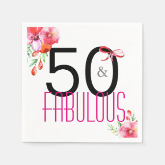 50 and Fabulous Floral 50th Birthday Party Paper Napkin