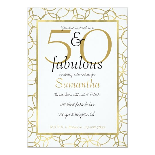 50 and Fabulous Glam Gold White Circles Party