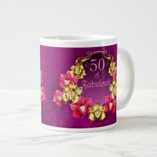 50 And Fabulous Gold And Pink Orchids Large Coffee Mug