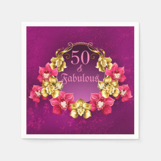 50 And Fabulous Gold And Pink Orchids Paper Napkin