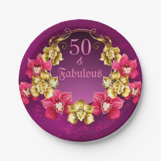 50 And Fabulous Gold And Pink Orchids Paper Plate