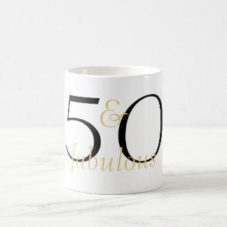 50 and Fabulous Gold Black White Coffee Mug
