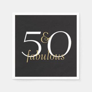 50 and Fabulous Gold Black White Party Napkins Disposable Napkins