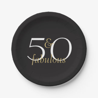 50 and Fabulous Gold Black White Party Plates