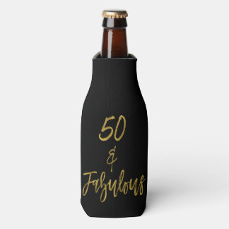 50 and Fabulous Gold Foil Birthday Bottle Cooler