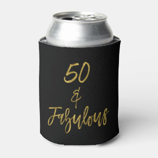 50 and Fabulous Gold Foil Birthday Can Cooler