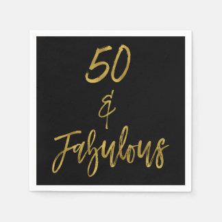 50 and Fabulous Gold Foil Birthday Napkins Disposable Napkins