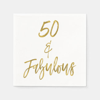 50 and Fabulous Gold Foil Birthday Napkins Disposable Serviettes