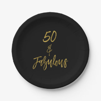 50 and Fabulous Gold Foil Birthday Paper Plate