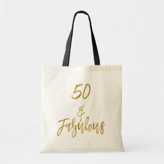 50 and Fabulous Gold Foil Birthday Tote Bag