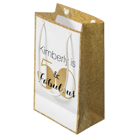 50 And Fabulous Gold Personalised Birthday Party Small Gift Bag