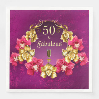 50 And Fabulous Gold Pink Orchids and Champagne Paper Napkins