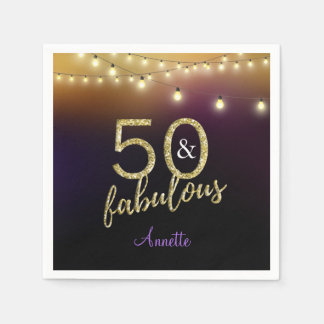 50 and Fabulous Gold Stars Purple Birthday Party Disposable Napkin