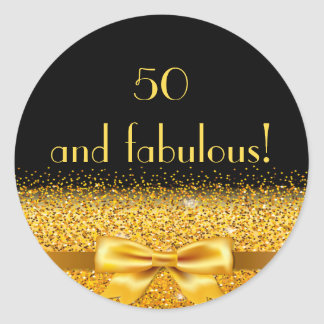 50 and fabulous golden bow with sparkle on black classic round sticker