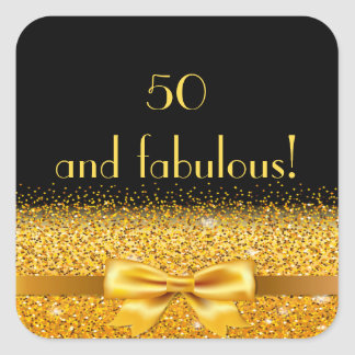 50 and fabulous golden bow with sparkle on black square sticker