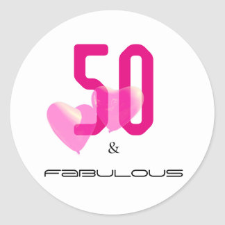 50 and fabulous hot pink black modern typography classic round sticker