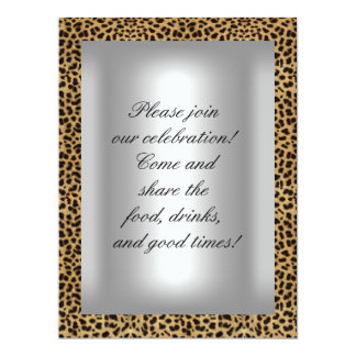 """50 and fabulous Leopard Silver Party 6.5"""" X 8.75"""" Invitation Card"""