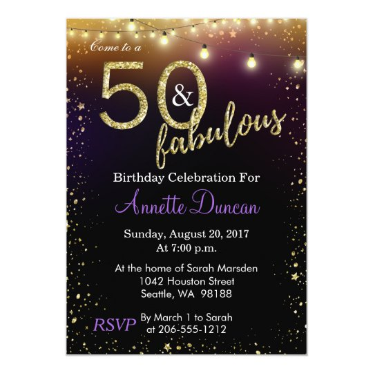 50 and Fabulous Lights and Stars Birthday Party