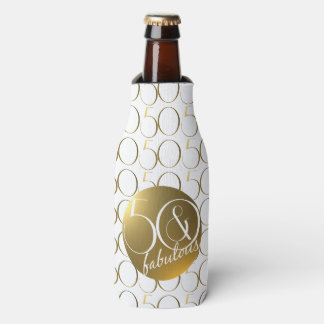 50 and Fabulous Metallic Gold Effect Bottle Cooler