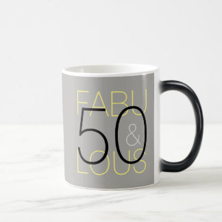 50 and Fabulous Modern Black Grey & Yellow Mug