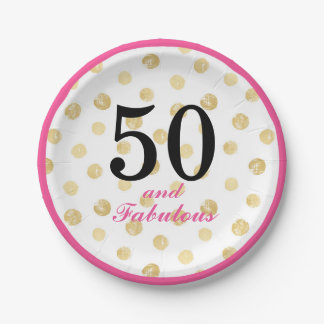 50 and fabulous party paper plate