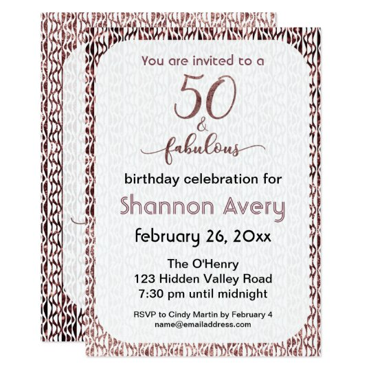 50 and Fabulous Party with Faux Rose Gold